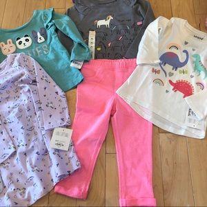 5 items! Shirts, pants & dress, size 24 months/2t